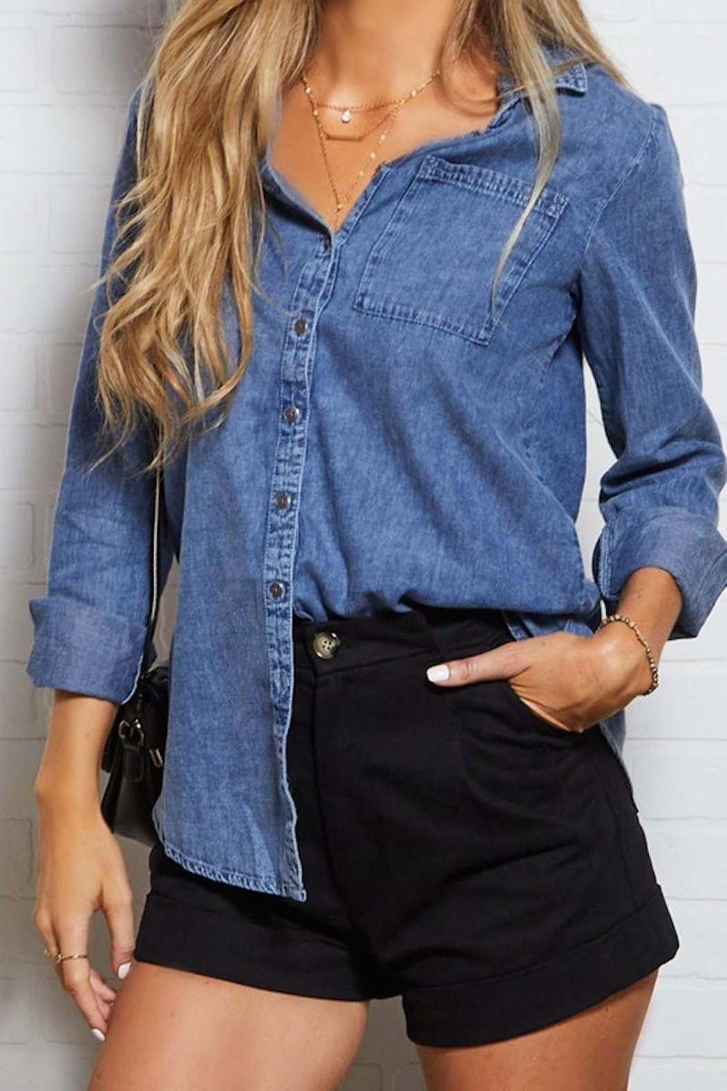 Ninexis Chambray Button Up - Front Full Image