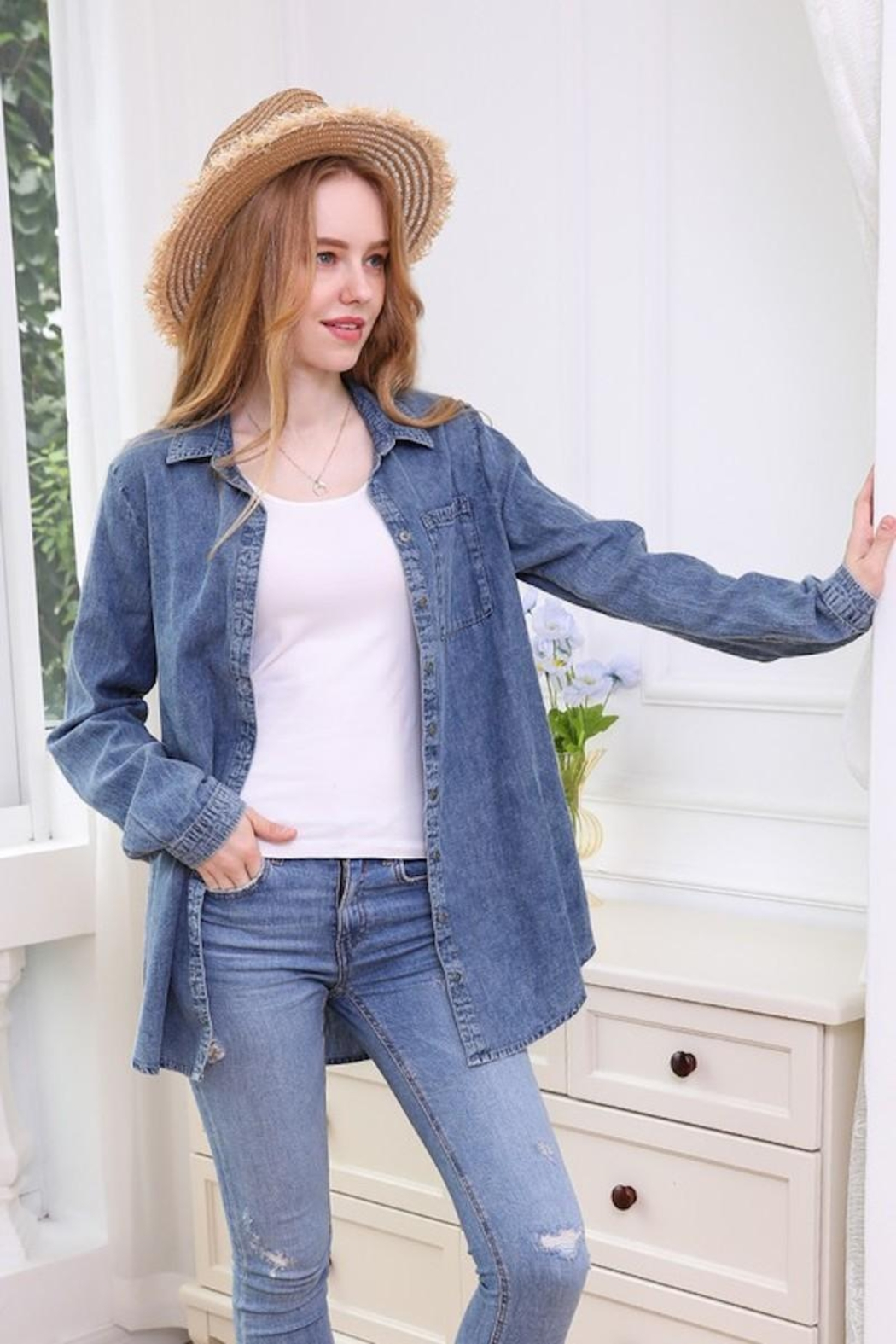 Ninexis Chambray Button Up - Back Cropped Image