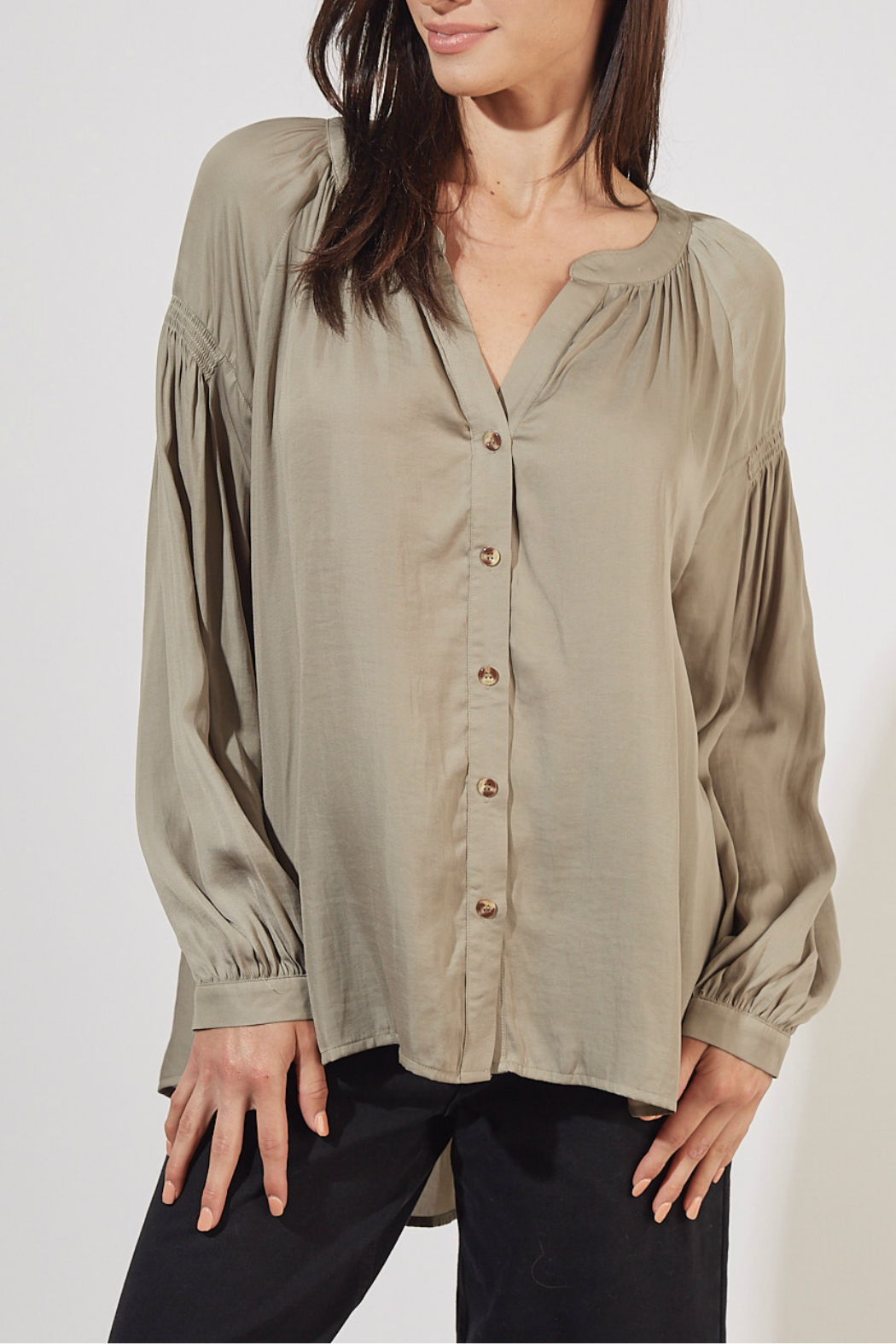 Mustard Seed No Collar button up blouse - Main Image