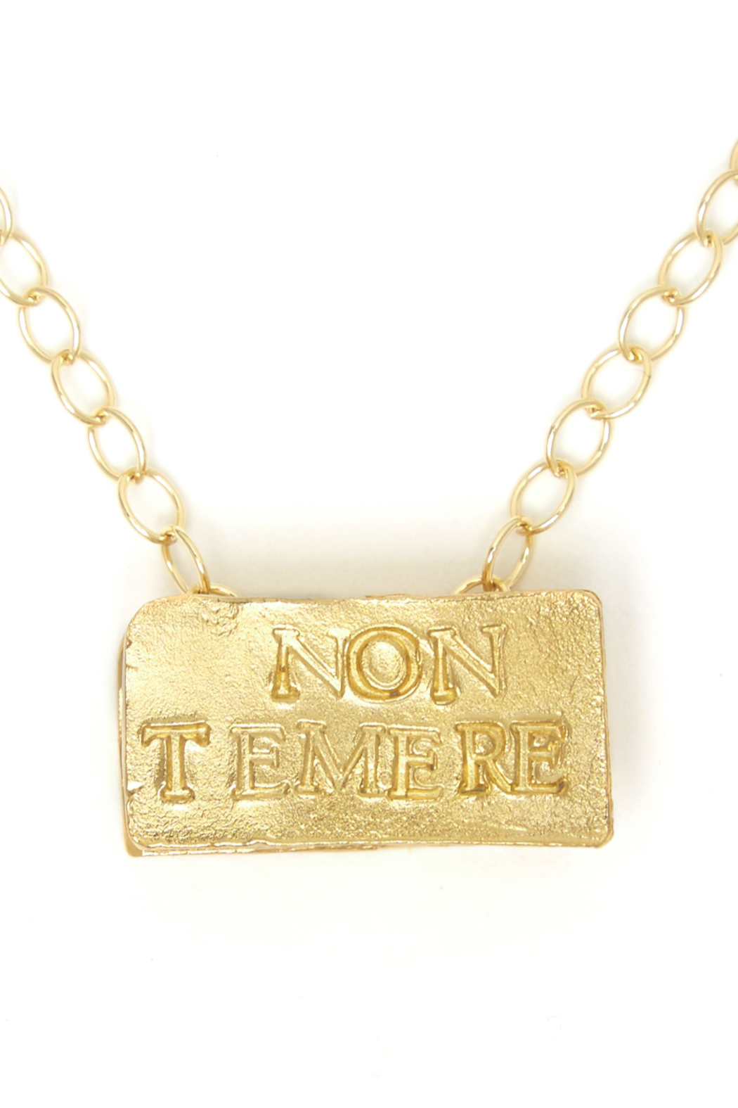 Jessica Ricci Jewelry No Fear Latin Phrase Amulet Pendant - Front Cropped Image