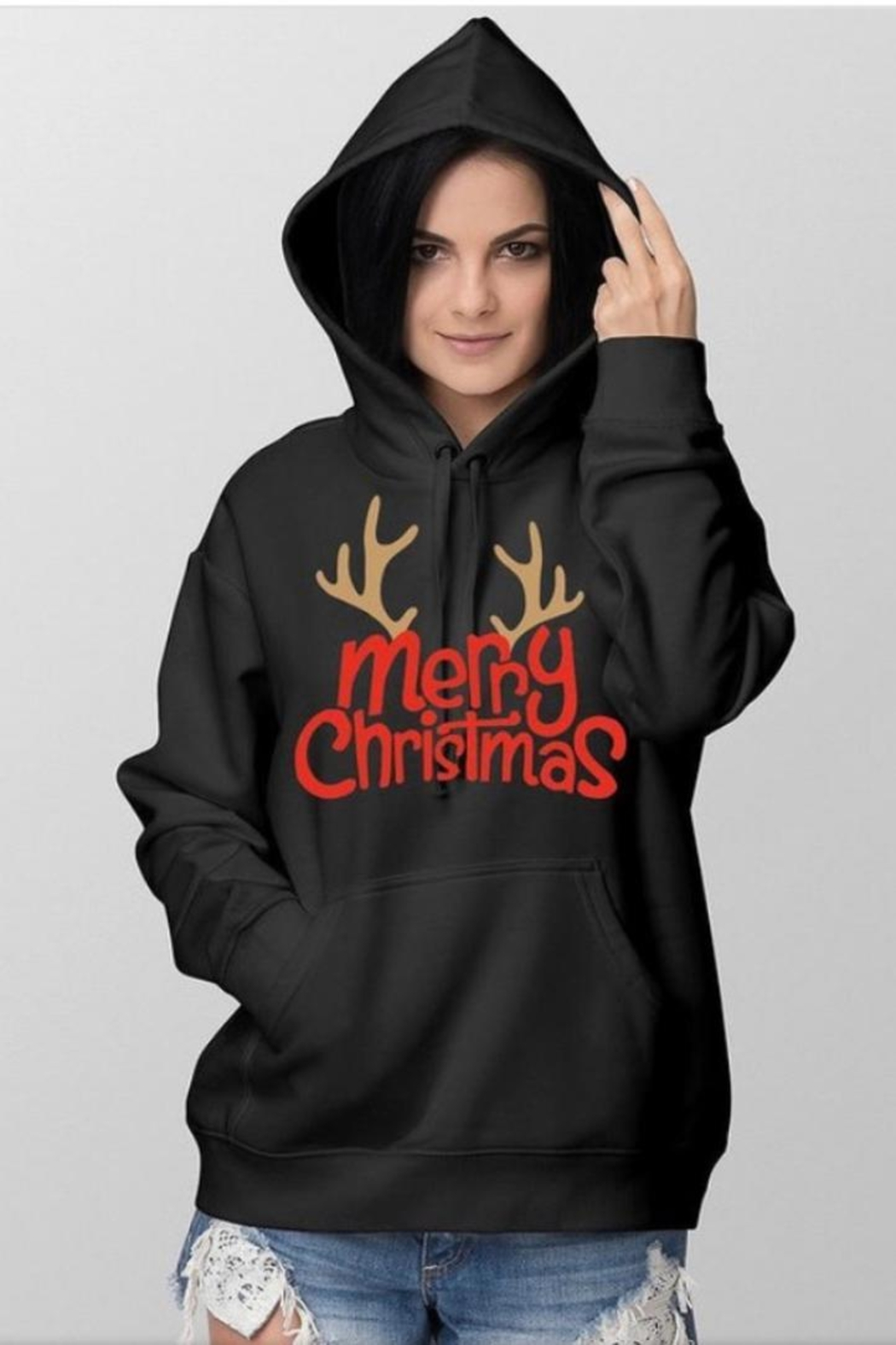 no brand Christmas Hooded Sweatshirt - Front Cropped Image
