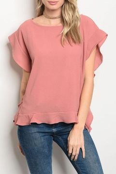 COVERSTITCHED Mauve Ruffled Top - Product List Image