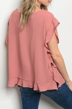COVERSTITCHED Mauve Ruffled Top - Alternate List Image