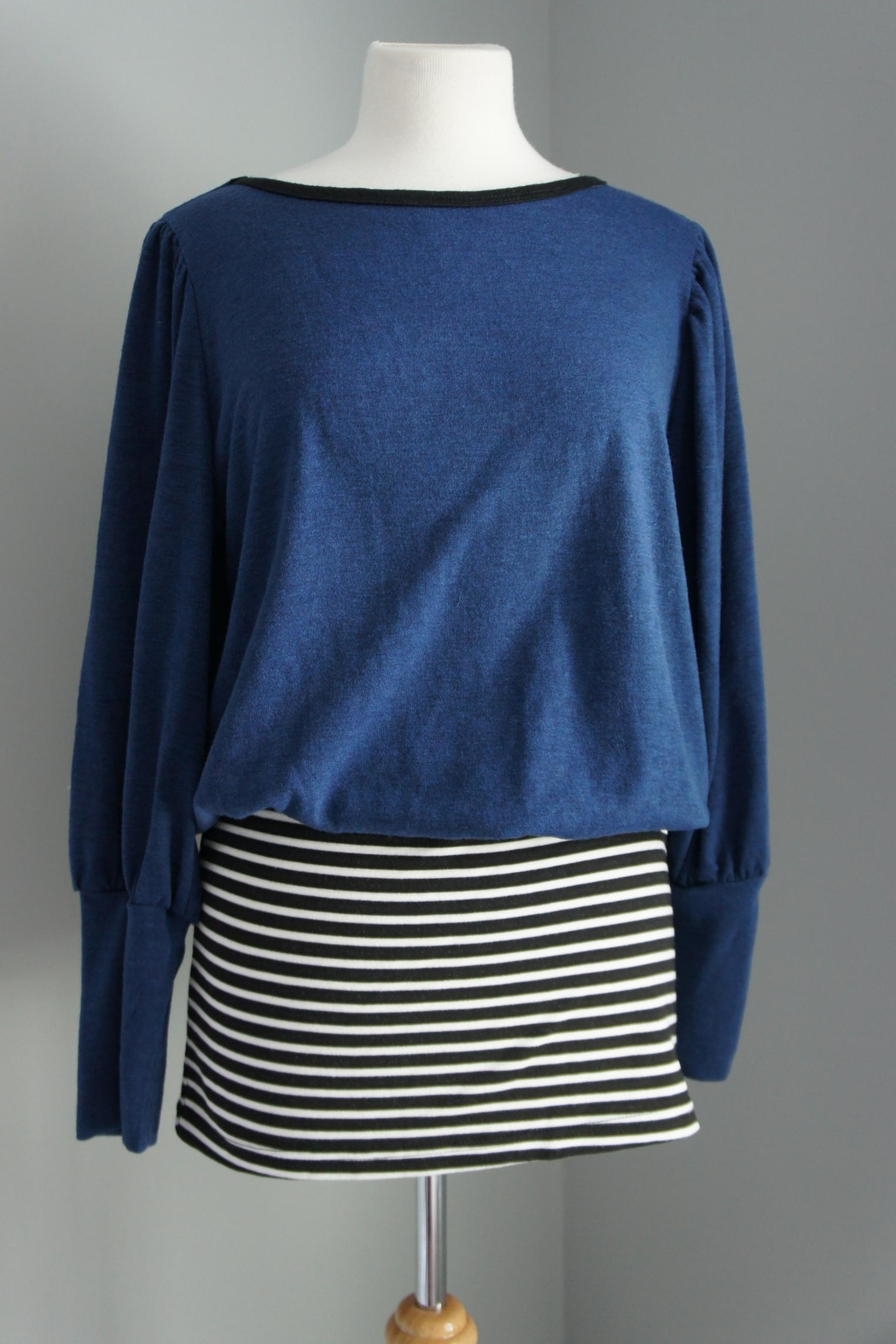 No Name Solid-Sweater-Top Striped Mini - Front Cropped Image
