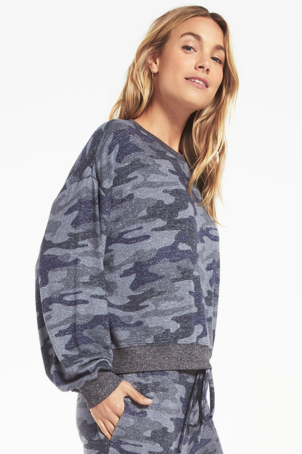 z supply Noa Camo Marled Top - Front Full Image