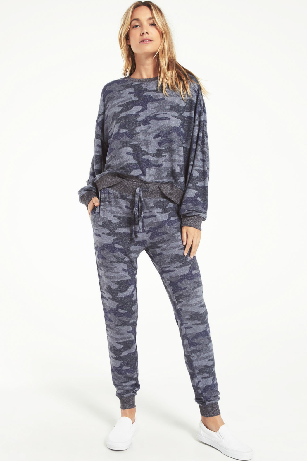 z supply Noa Camo Marled Top - Back Cropped Image