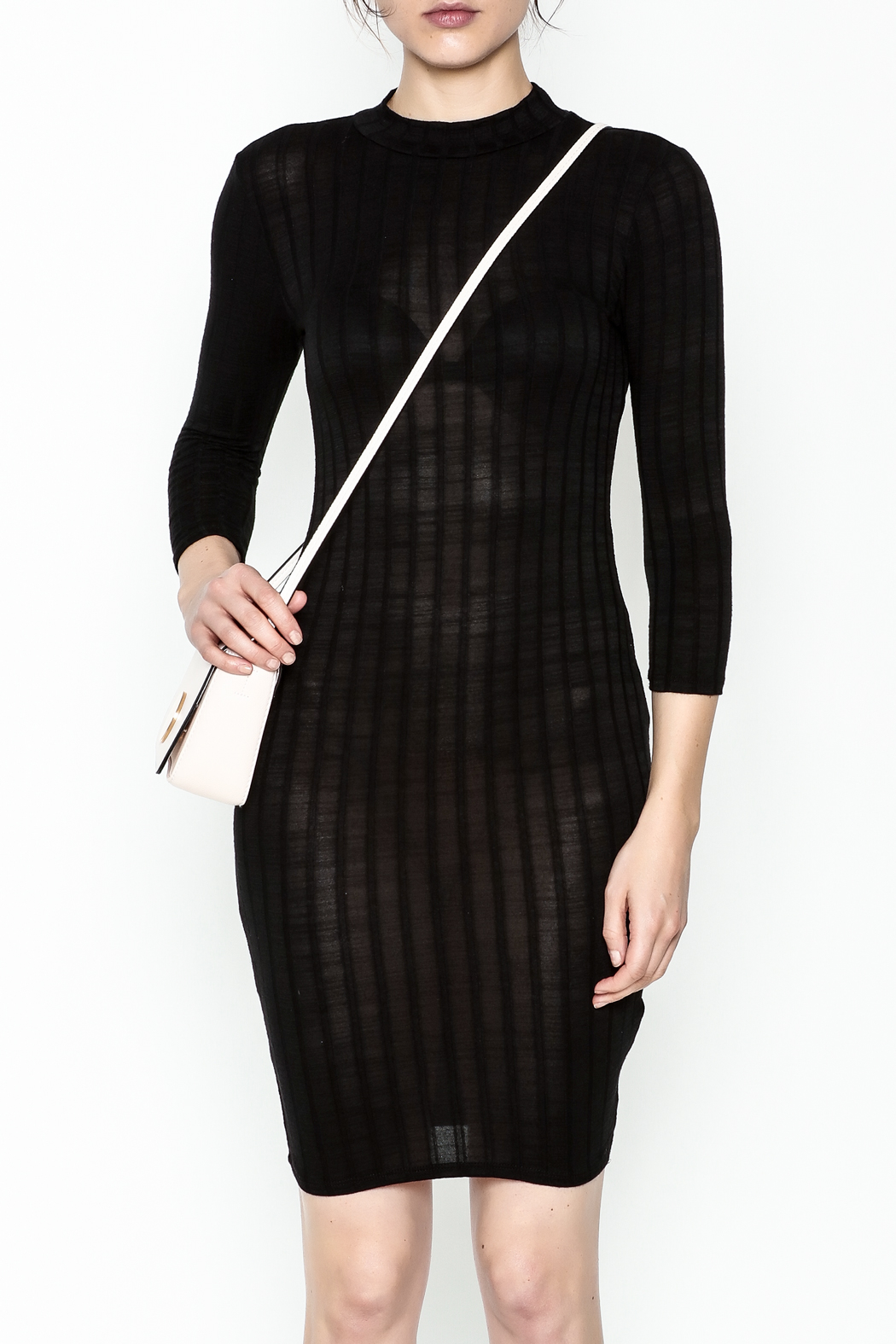 Noble U Bodycon Mock Neck Dress - Front Full Image