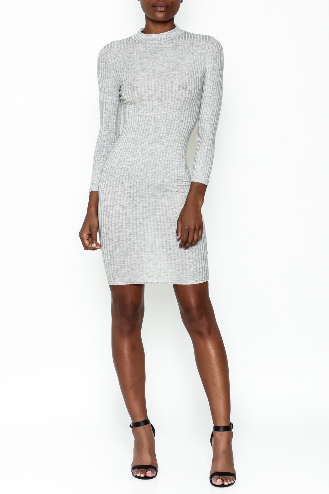Noble U Bodycon Mock Neck Dress - Side Cropped Image