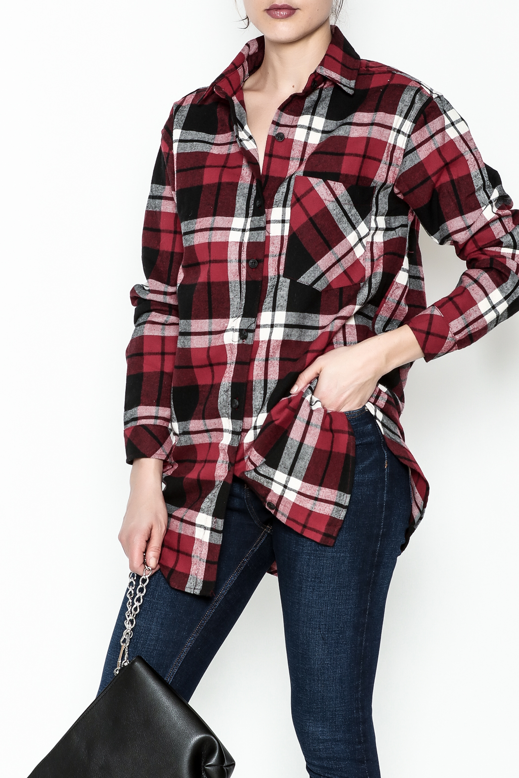 Noble U Plaid Flannel Shirt - Front Cropped Image