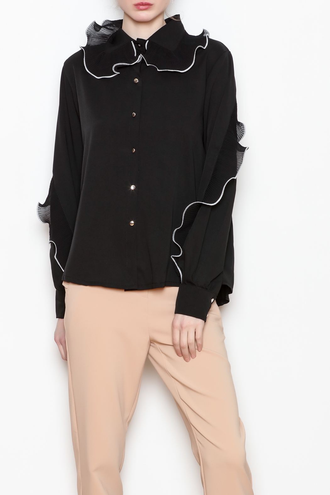 Noble U Ruffle Detail Blouse - Front Cropped Image