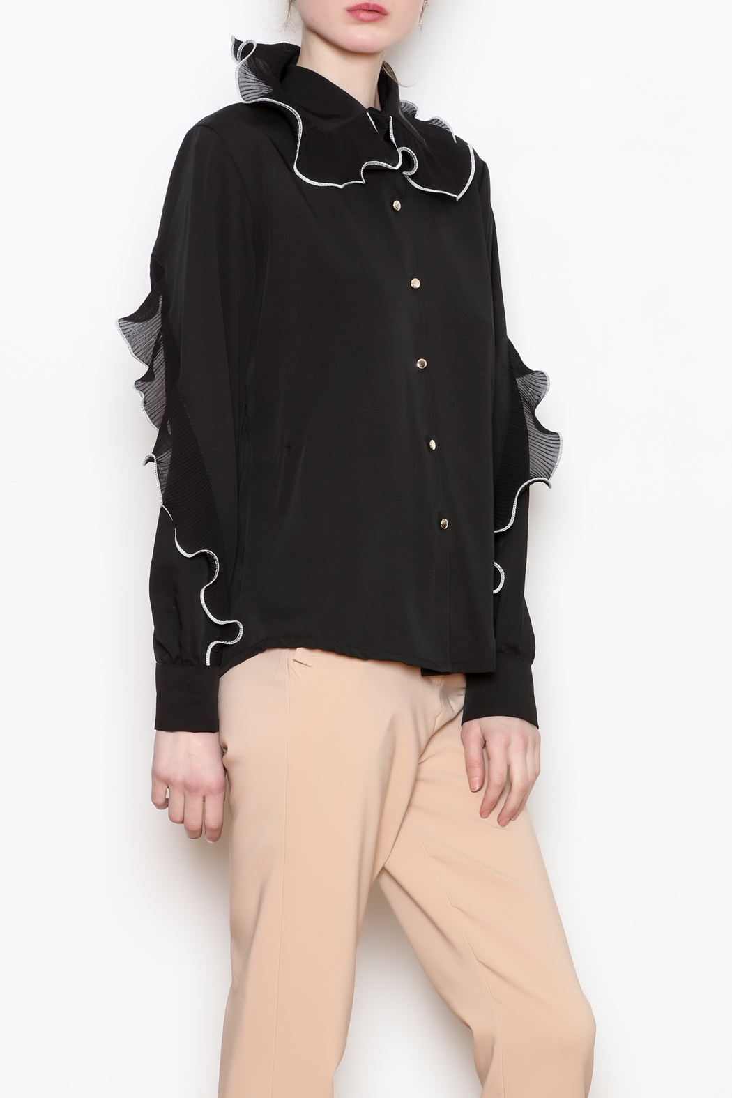 Noble U Ruffle Detail Blouse - Front Full Image