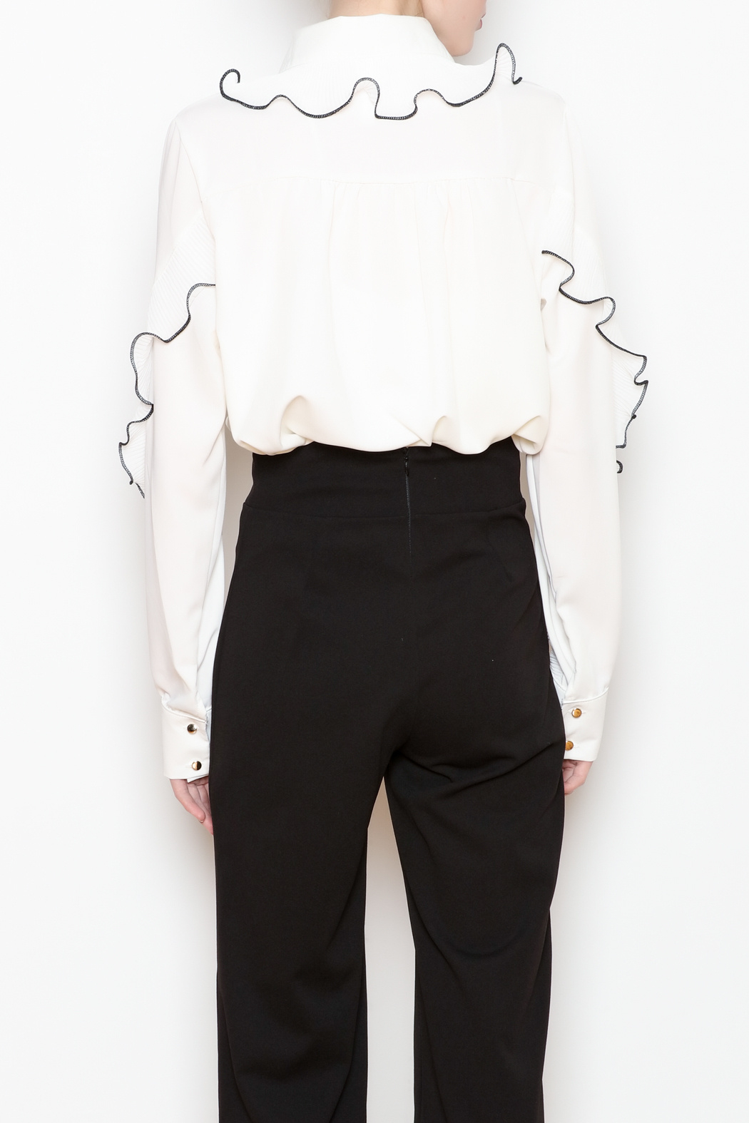 Noble U Ruffle Detail Blouse - Back Cropped Image