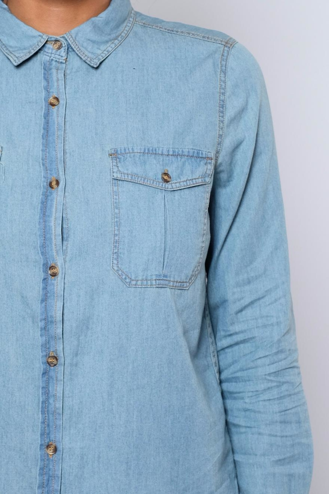 Noble U Chambray Button Down Shirt - Back Cropped Image