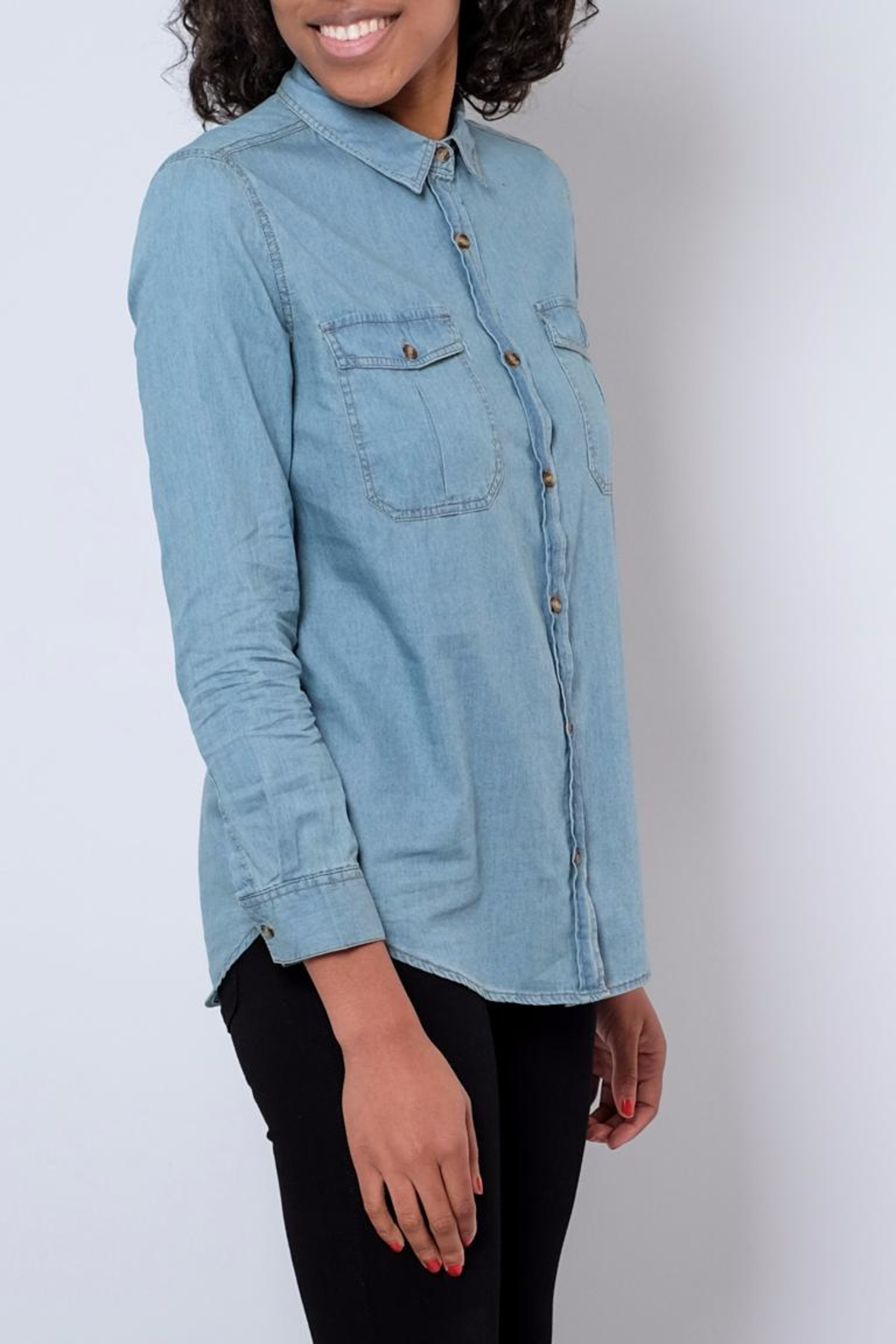 Noble U Chambray Button Down Shirt - Front Full Image