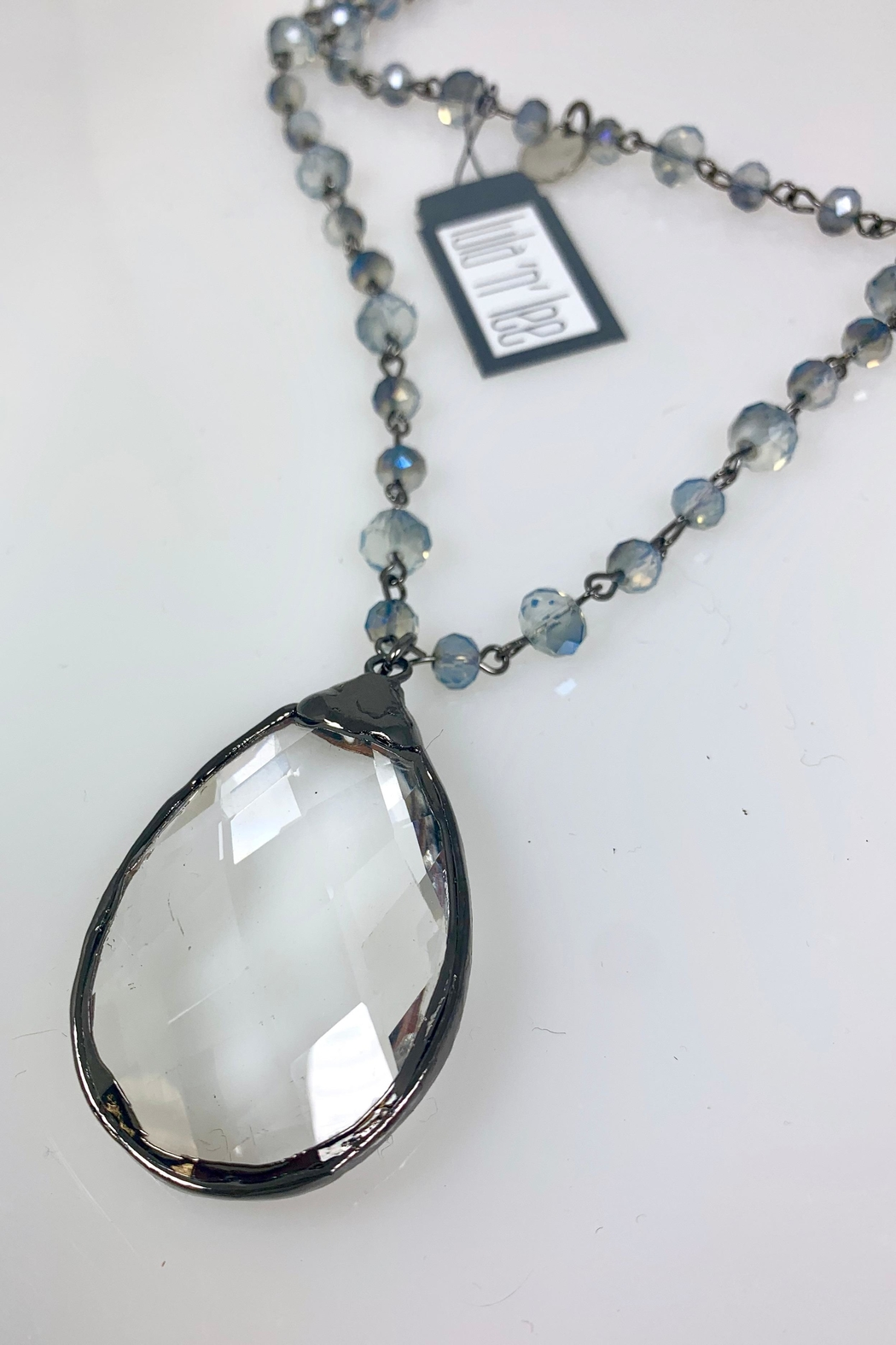 Nobrand Blue Crystal Necklace - Side Cropped Image