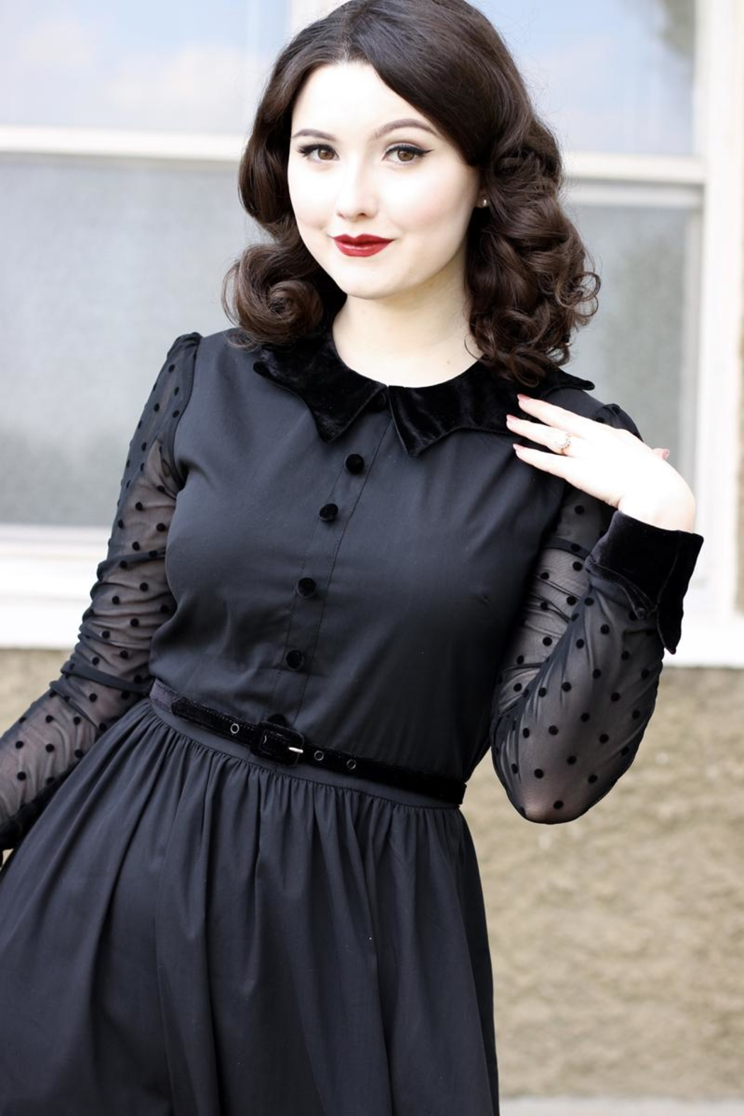 Retrolicious Nocturnal Swing Dress - Front Full Image