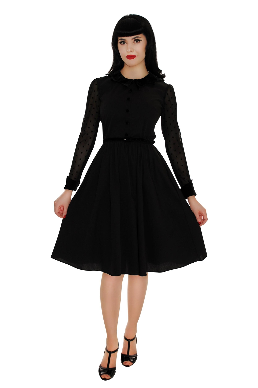 Retrolicious Nocturnal Swing Dress - Side Cropped Image