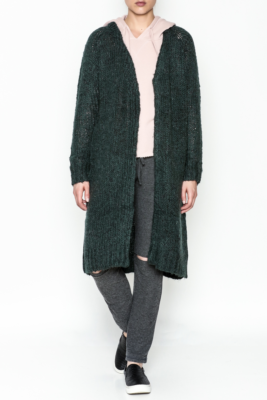 Noisy May Long Green Cardigan - Front Cropped Image