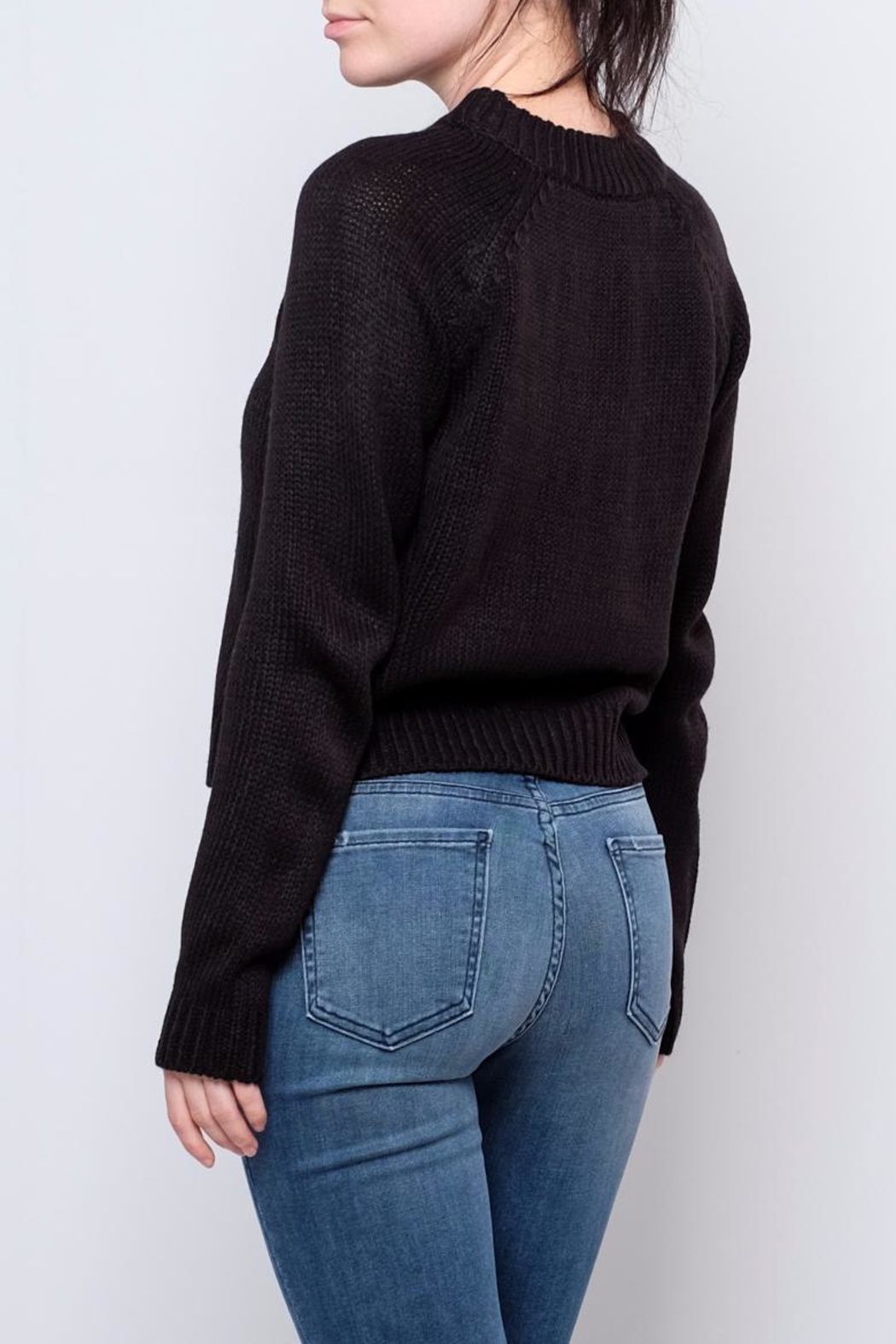 Noisy May Cropped Cableknit Sweater - Side Cropped Image
