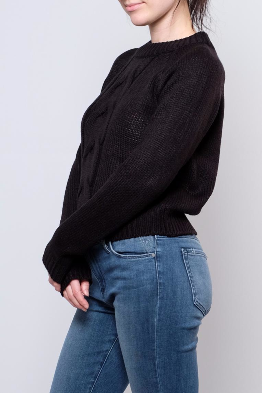 Noisy May Cropped Cableknit Sweater - Front Full Image