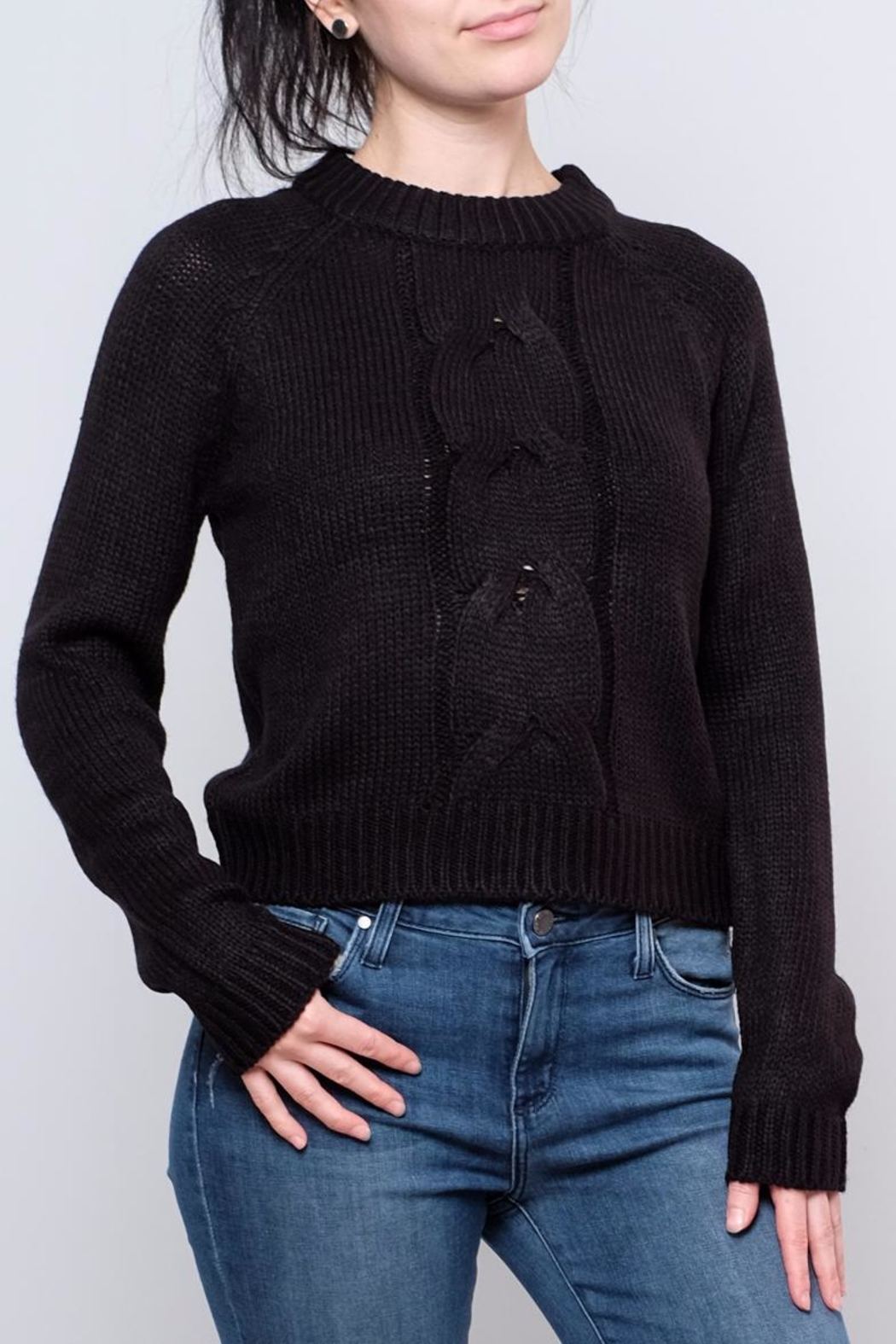 Noisy May Cropped Cableknit Sweater - Main Image