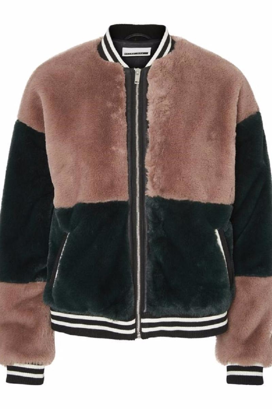 Noisy May Faux Fur Bomber Jacket - Front Cropped Image
