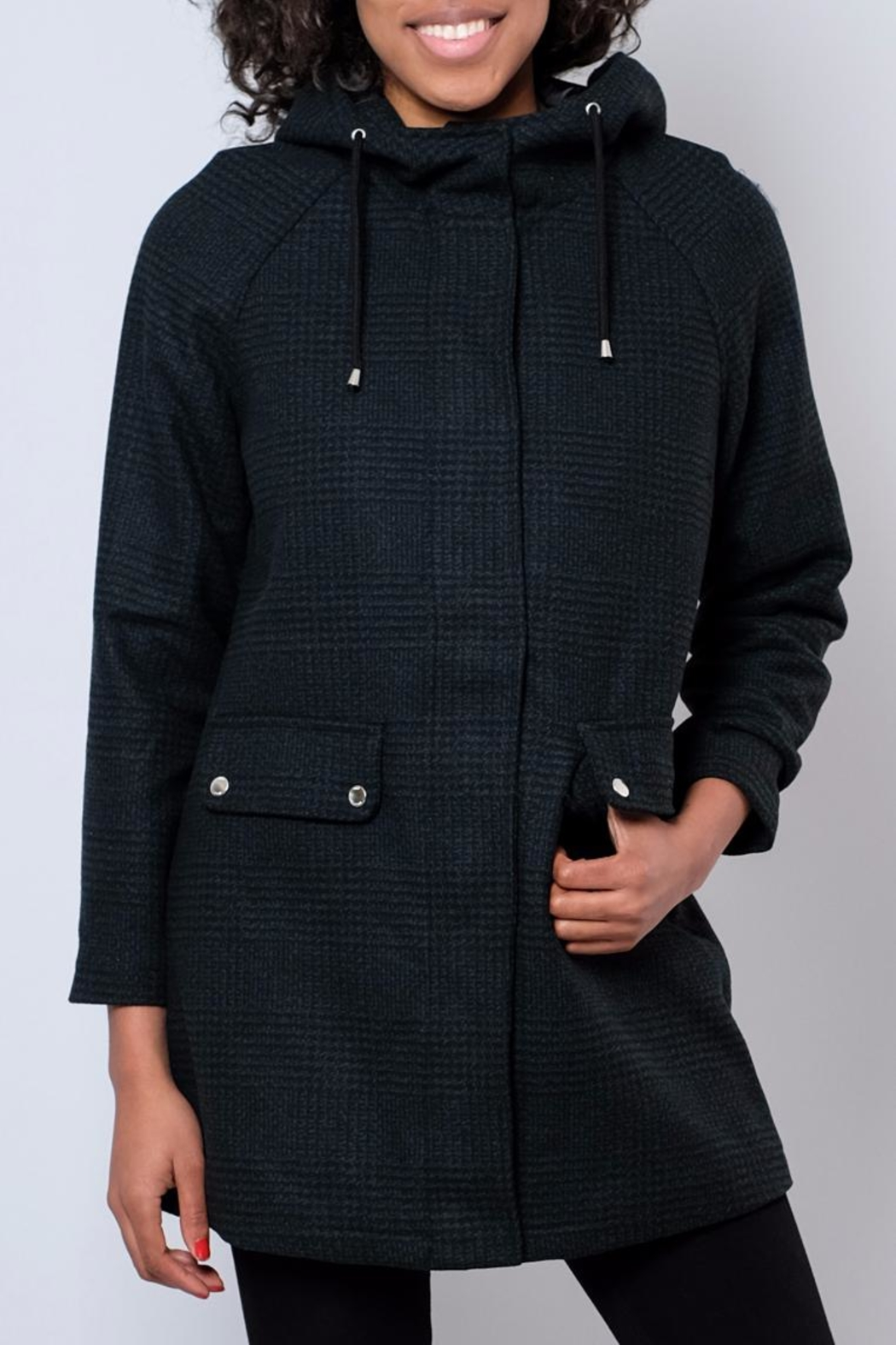 Noisy May Hooded Plaid Coat - Main Image