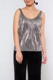 Noisy May Pleated Metallic Top - Product Mini Image