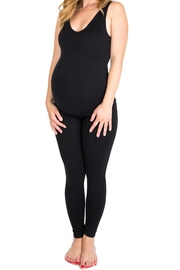 NOM Maternity Seamless Tank - Black - Front cropped