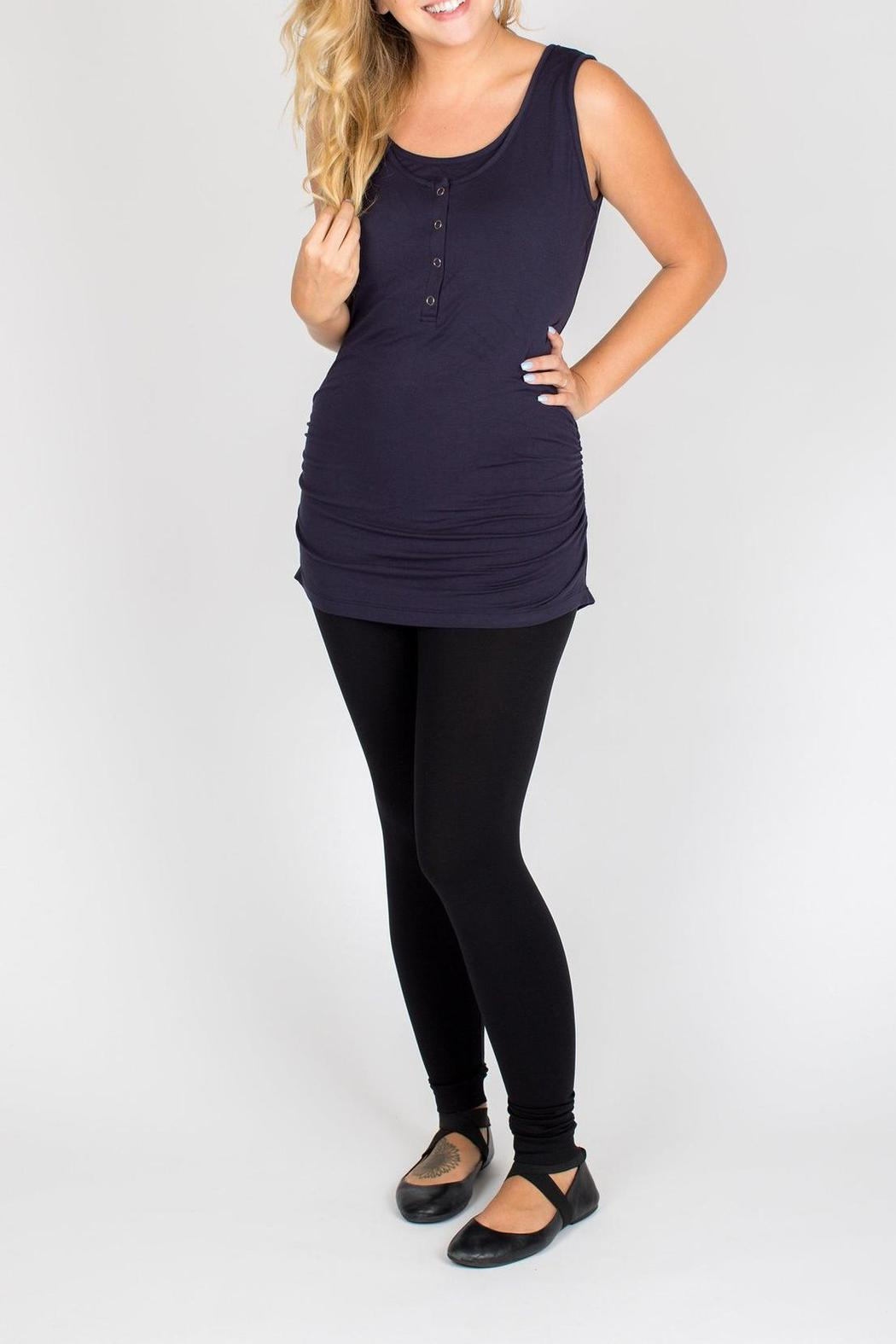 NOM Maternity Navy Nursing Tank Top - Front Cropped Image