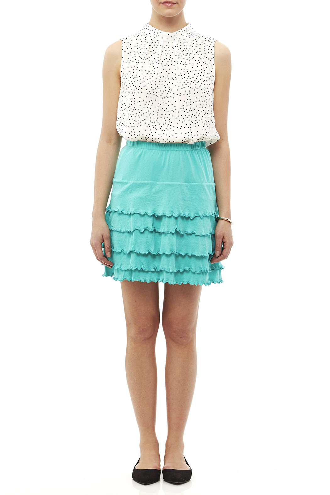 Nomadic Traders Teal Ruffle Skirt - Front Full Image