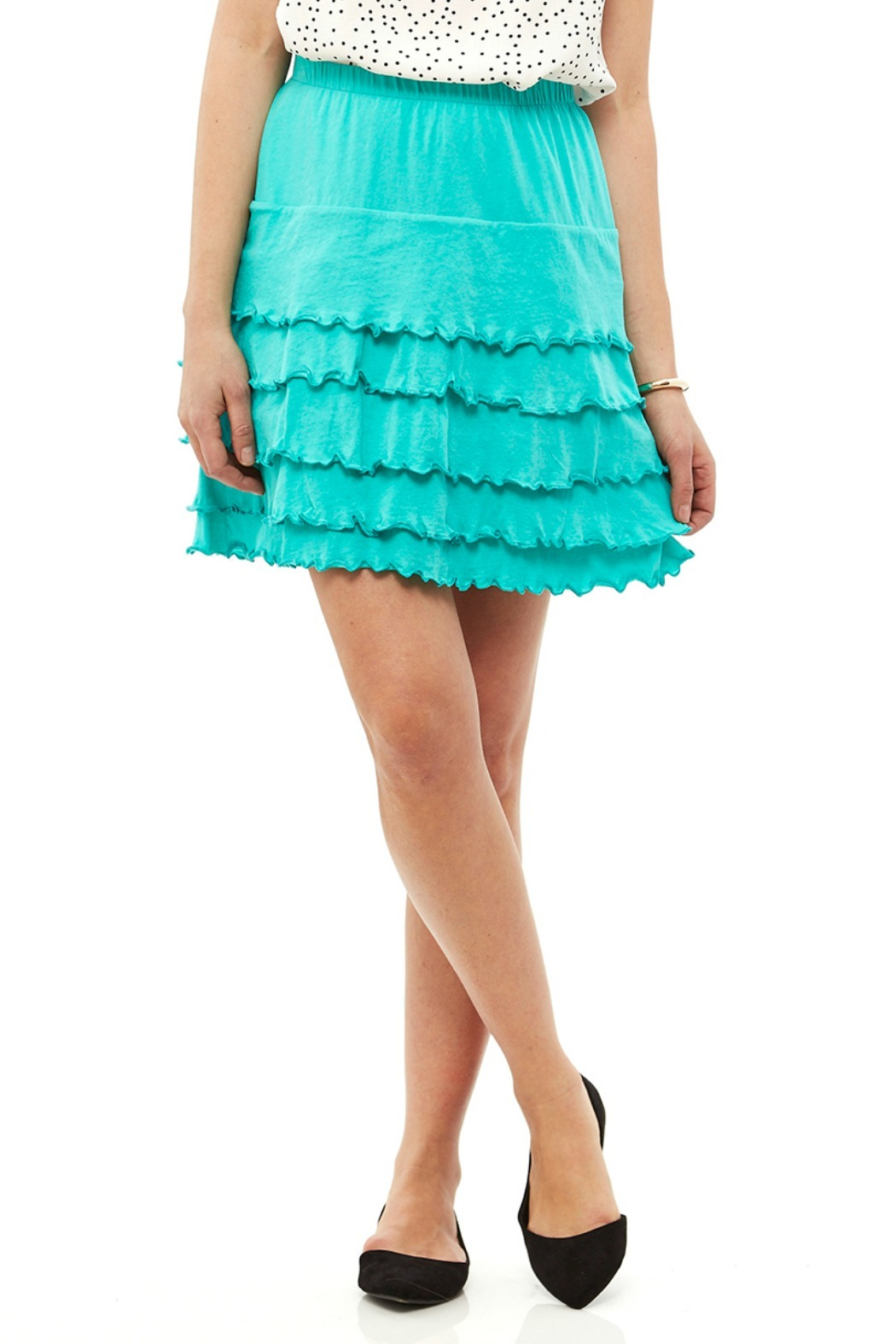 Nomadic Traders Teal Ruffle Skirt - Front Cropped Image