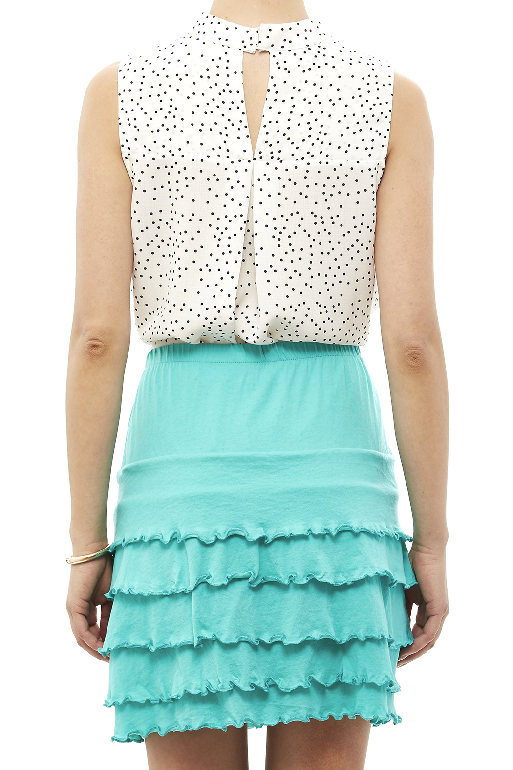 Nomadic Traders Teal Ruffle Skirt - Back Cropped Image