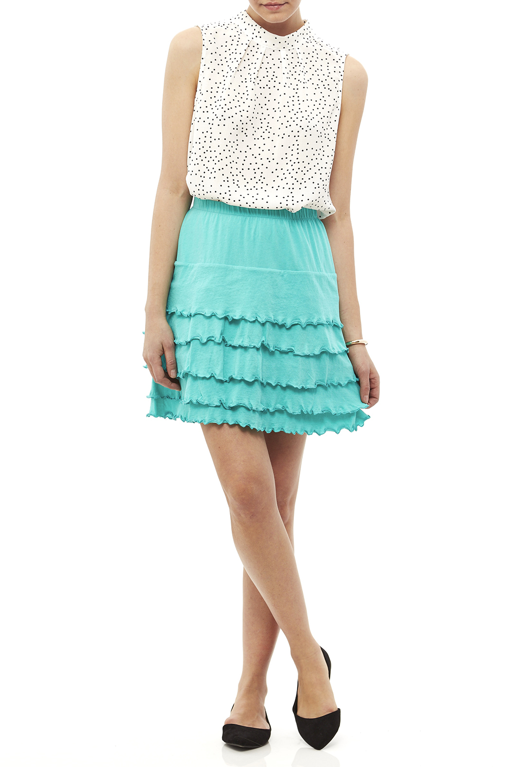 Nomadic Traders Teal Ruffle Skirt - Side Cropped Image