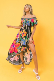 Flying Tomato Nora Black Tropical Off Shoulder High-Low Dress - Front cropped