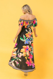 Flying Tomato Nora Black Tropical Off Shoulder High-Low Dress - Side cropped