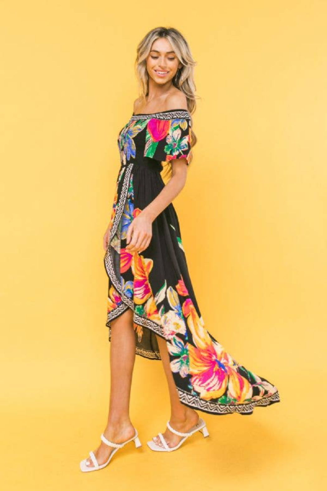 Flying Tomato Nora Black Tropical Off Shoulder High-Low Dress - Front Full Image