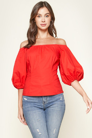 R+D  Nori Off The Shoulder Puff Sleeve Top - Product Mini Image