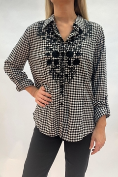 Nostalgia Embroidered Gingham Top - Product List Image