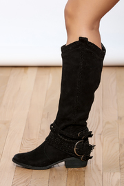 Not Rated Black Buckle Boots - Product Mini Image