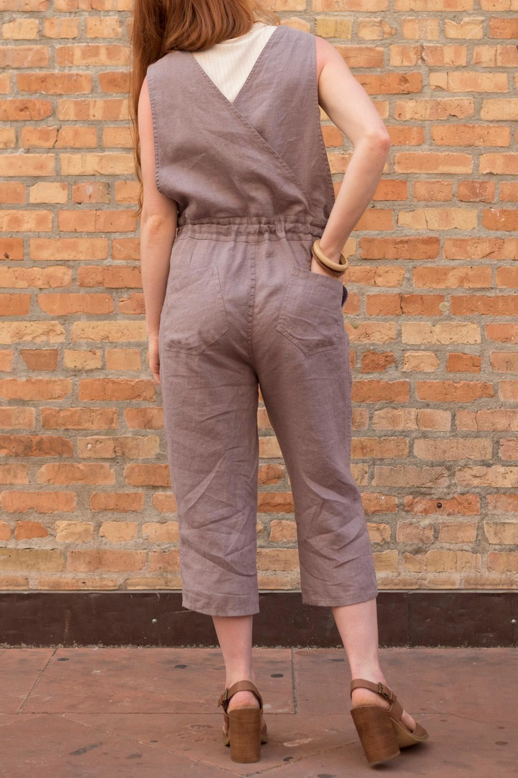 not Perfect Linen Cropped Linen Jumpsuit - Front Cropped Image