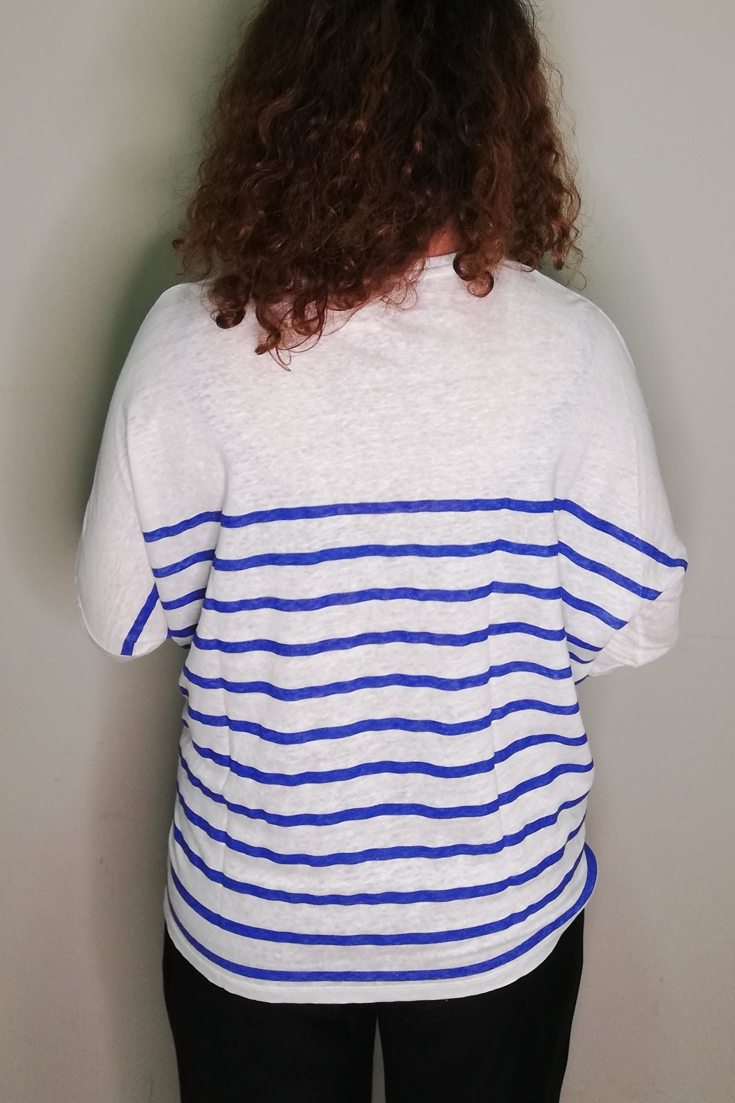 Not Shy Striped Linen T-Shirt - Front Full Image