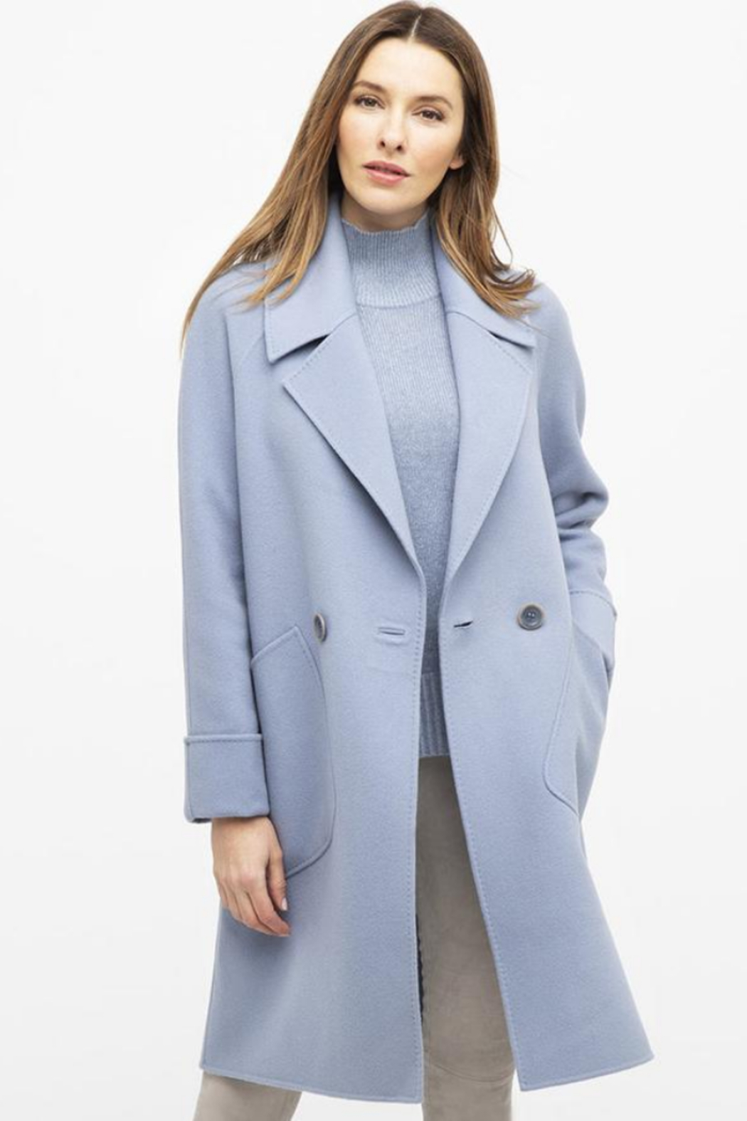 Kinross Cashmere NOTCH COLLAR COAT - Main Image