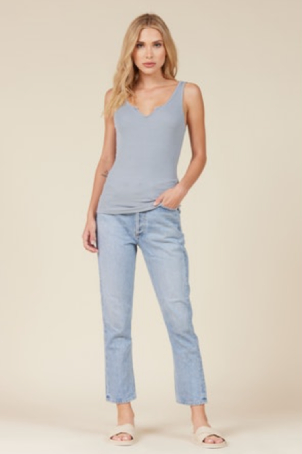 LaMade  Notch Ribbed Tank - Front Cropped Image