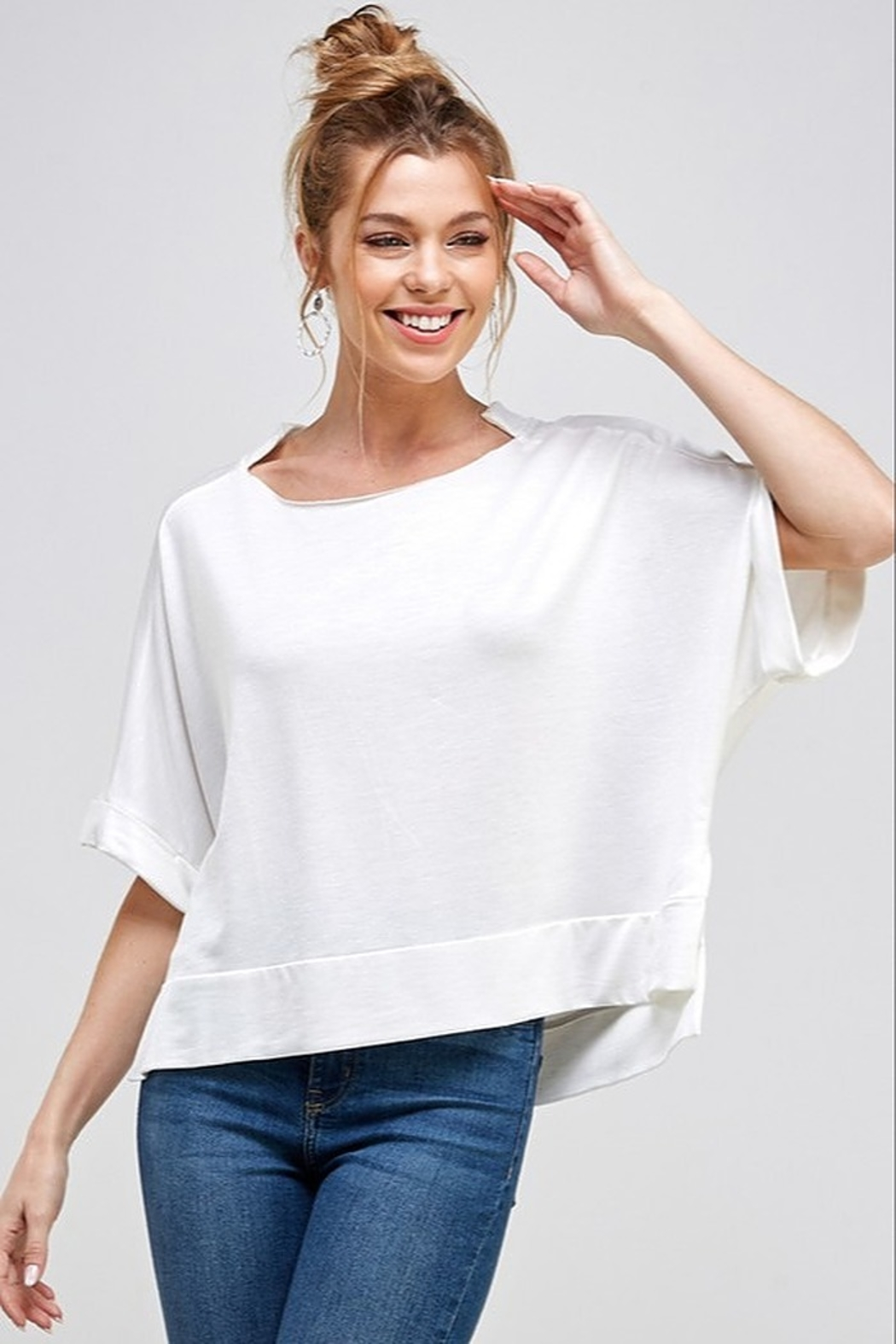 Caramela Notched Collar Knit Top - Front Cropped Image