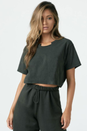 Joah Brown Notched Crop Tee - Product Mini Image