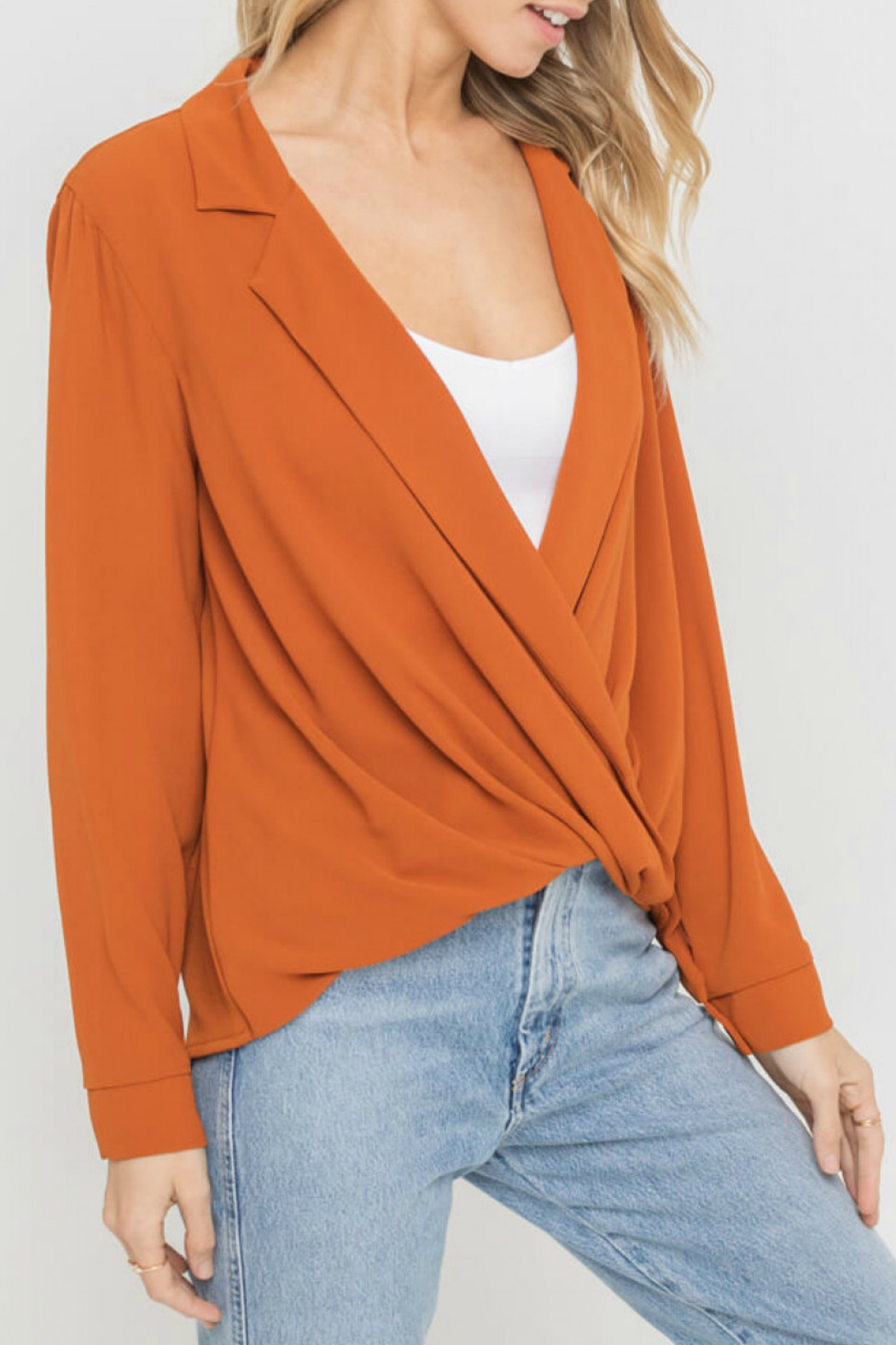 Lush  Notched Lapel Collar Blouse - Front Full Image