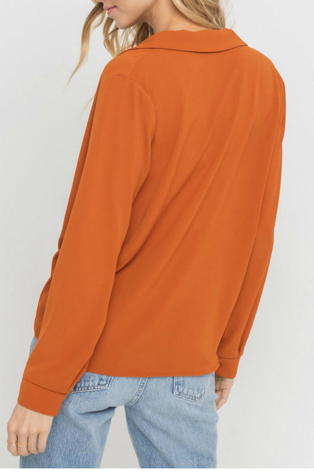 Lush  Notched Lapel Collar Blouse - Side Cropped Image