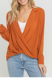 Lush  Notched Lapel Collar Blouse - Front cropped