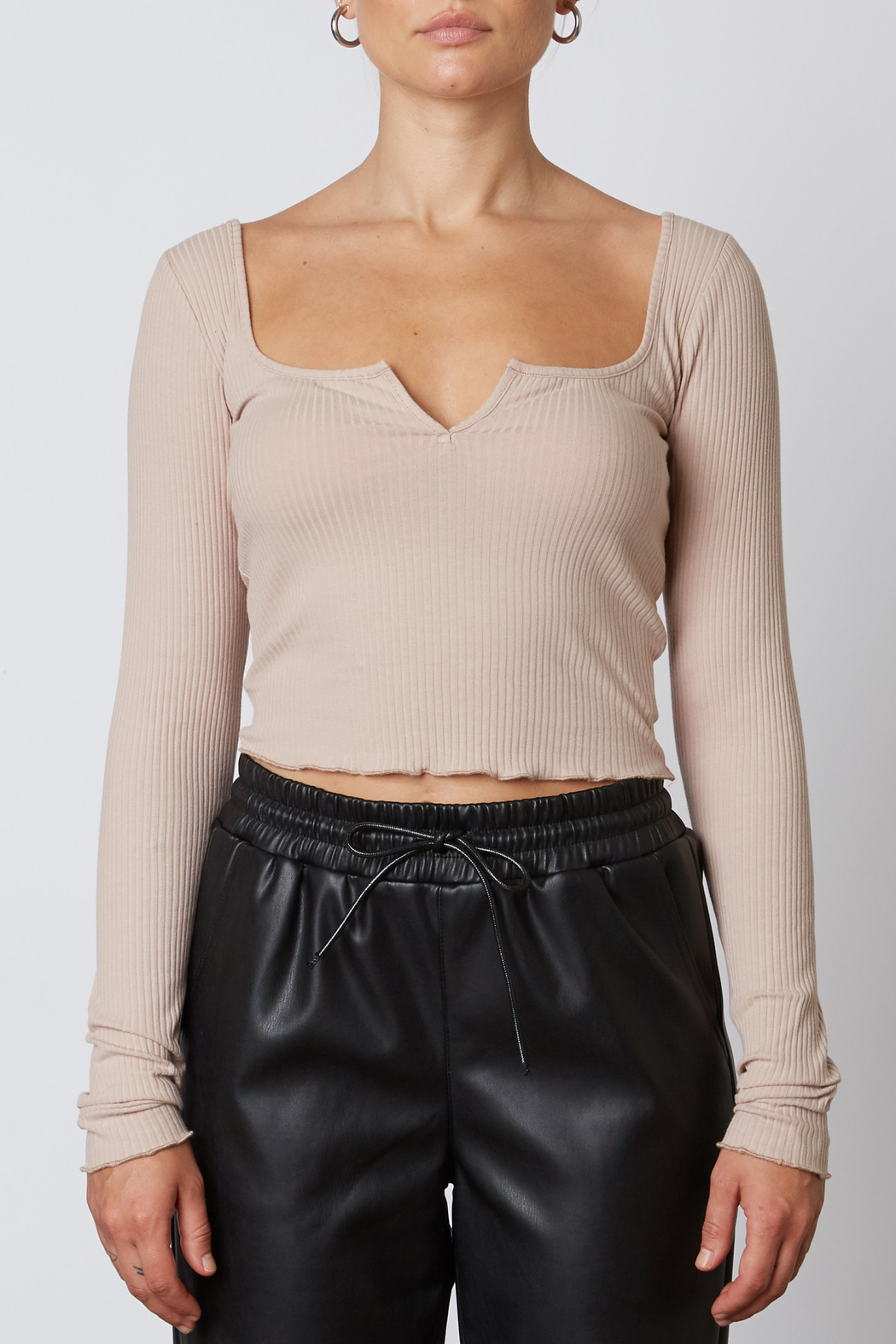 NIA Notched Ribbed Tee - Front Cropped Image